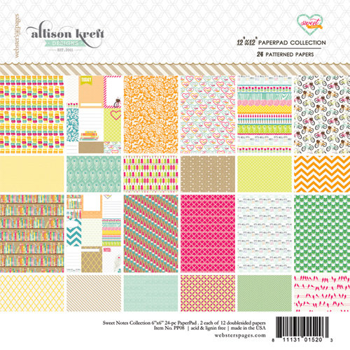Websters Pages - Sweet Notes Collection - 12 x 12 Paper Pad