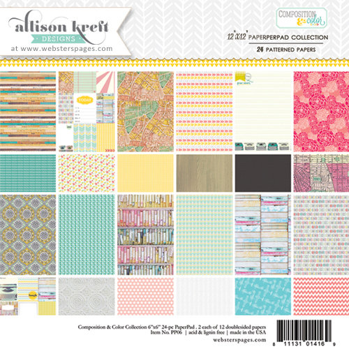 Websters Pages - Composition and Color Collection - 12 x 12 Paper Pad
