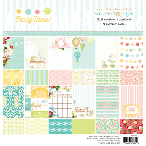 Websters Pages - Party Time Collection - 12 x 12 Paper Pad