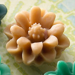Websters Pages - Whimsies - Resin Embellishment Pieces - Mini Flower Petals - Tan