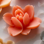 Websters Pages - Whimsies - Resin Embellishment Pieces - Lotus Flower Blooms - Coral