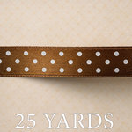 Websters Pages - Yacht Club Collection - Designer Ribbon - Brown Polka - 25 Yards