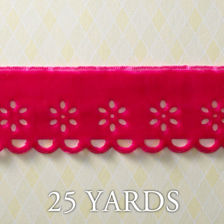 Websters Pages - Let's Celebrate Collection - Designer Ribbon - Scalloped Pink - 25 Yards
