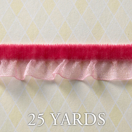 Websters Pages - Western Romance Collection - Designer Ribbon - Velvet Ruffle Pink - 25 Yards