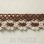 Websters Pages - Western Romance Collection - Designer Ribbon - Brown and Ivory - 25 Yards