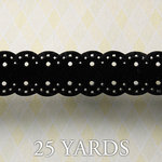 Websters Pages - All About Me Collection - Designer Ribbon - Pin Pattern Black - 25 Yards