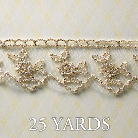 Websters Pages - Winter Fairy Tales Collection - Designer Ribbon - Sparkling Gold - 25 Yards
