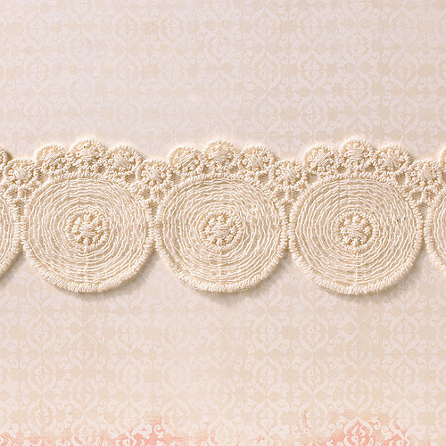 Websters Pages - Designer Ribbon - Large Natural Circles - 25 Yards