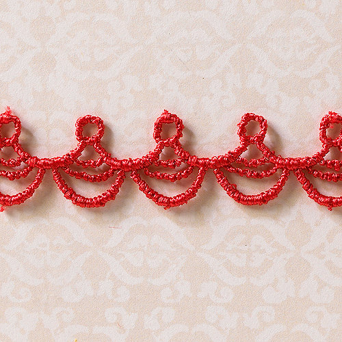 Websters Pages - Designer Ribbon - Drop Scallop Red - 25 Yards
