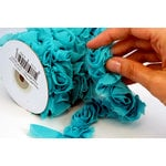 Websters Pages - Bloomers - Flower and Trim Ribbons - Aqua - 7.5 Yards