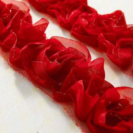 Websters Pages - Bloomers - Flower and Trim Ribbons - Red Sparkle - 7.5 Yards