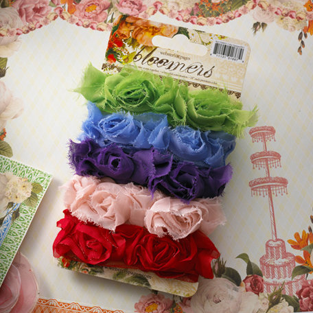 Websters Pages - Bloomers - Flower and Trim Ribbons - Assorted Four