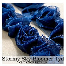 Websters Pages - Bloomers - Flower and Trim Ribbons - Stormy Sky