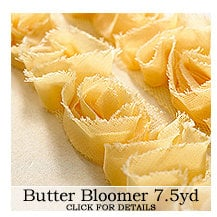 Websters Pages - Bloomers - Flower and Trim Ribbons - Butter - 7.5 Yards