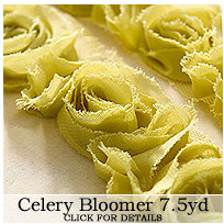 Websters Pages - Bloomers - Flower and Trim Ribbons - Celery - 7.5 Yards