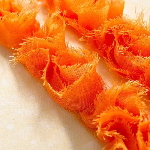 Websters Pages - Bloomers - Flower and Trim Ribbons - Orange Kiss