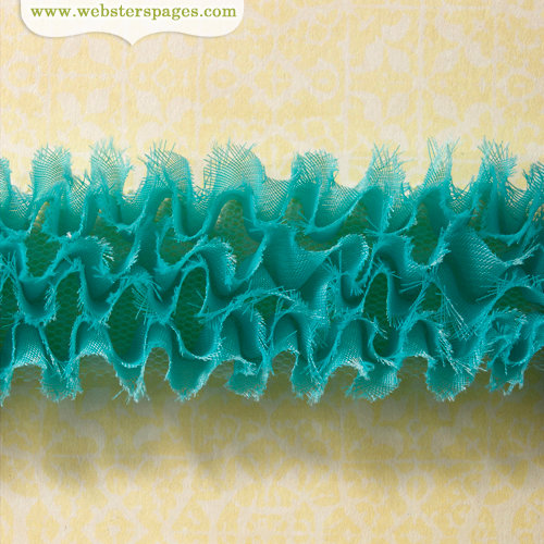 Websters Pages - Ruffled Bloomers - Flower and Trim Ribbons - Teal - 25 Yards