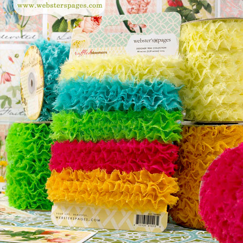 Websters Pages - Ruffled Bloomers - Flower and Trim Ribbons - Pack