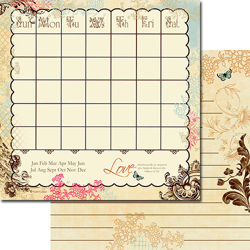 Websters Pages - Designer Calendars Collection - 12 x 12 Double Sided Paper - Love Inspired Calendar, BRAND NEW