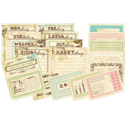 Websters Pages - Postcards from Paris Collection - Journaling Cards - Day of the Week, CLEARANCE