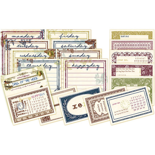 Websters Pages - Nature's Storybook Collection - Journaling Cards - Days of the Week, CLEARANCE