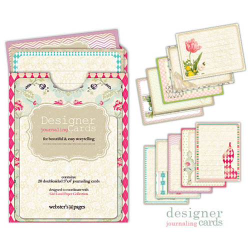 Websters Pages - Girl Land Collection - Deluxe Journaling Cards