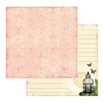 Websters Pages - Postcards from Paris Collection - 12 x 12 Double Sided Paper - Belle Rose, CLEARANCE