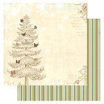 Websters Pages - Winter's Wings Collection - Christmas - 12 x 12 Double Sided Paper - Magical Tree, BRAND NEW