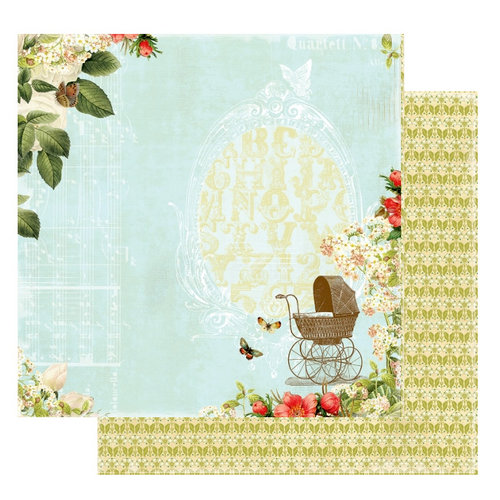 Websters Pages - Lullaby Lane Collection - 12 x 12 Double Sided Paper - Out for a Stroll