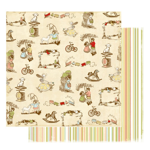 Websters Pages - Lullaby Lane Collection - 12 x 12 Double Sided Paper - Puppydogs and Pigtails