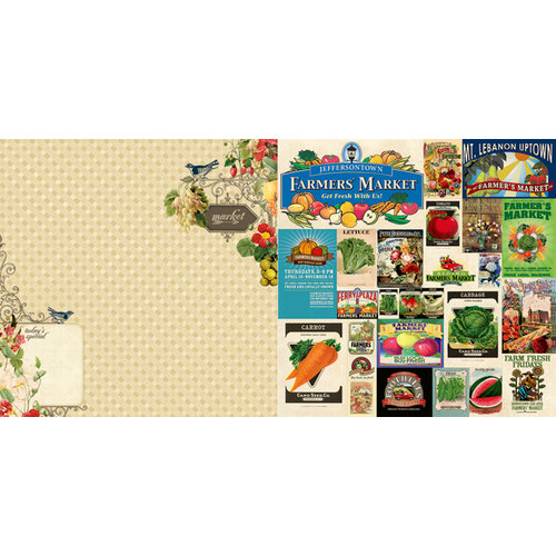 Websters Pages - Spring Market Collection - 12 x 12 Double Sided Paper - Market Menu
