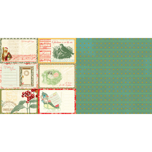 Websters Pages - A Botanical Christmas Collection - 12 x 12 Double Sided Paper - Postcards to Santa