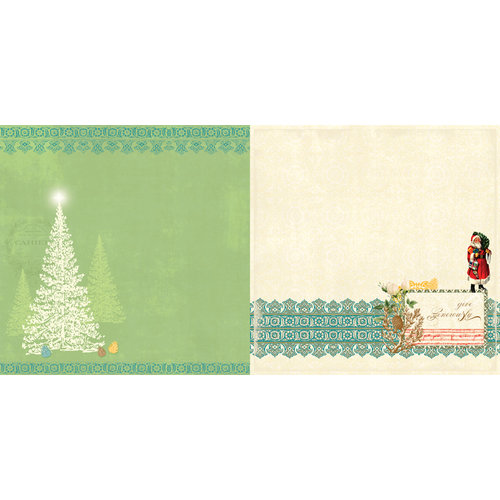 Websters Pages - A Botanical Christmas Collection - 12 x 12 Double Sided Paper - Oh Christmas Tree