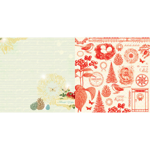 Websters Pages - A Botanical Christmas Collection - 12 x 12 Double Sided Paper - Beautiful Holiday