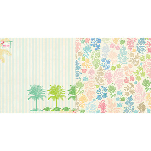 Websters Pages - The Palm Beach Collection - 12 x 12 Double Sided Paper - Turtle Cove
