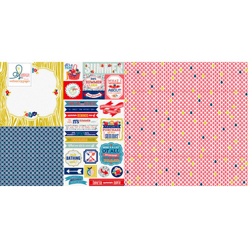 Websters Pages - Adrienne Looman - Citrus Squeeze Collection - 12 x 12 Double Sided Paper - Hazy, Hot and Humid