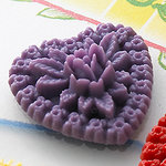 Websters Pages - Whimsies - Resin Embellishments Pieces - Hearts - Purple