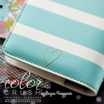 Websters Pages - Color Crush Collection - Personal Planner Binder - Teal and White Stripe