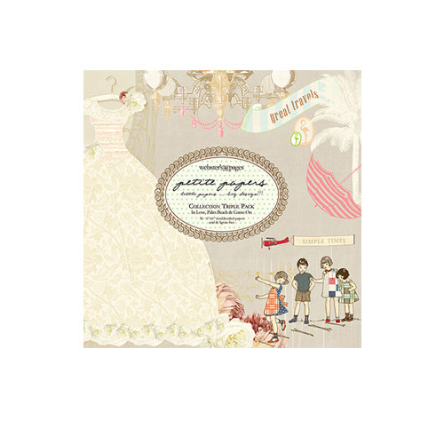 Websters Pages - Petite Paper - 6 x 6 Collection Combo Paper Pack - In Love The Palm Beach and Game On