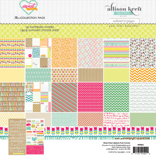 Websters Pages - Sweet Notes Collection - 12 x 12 Collection Pack