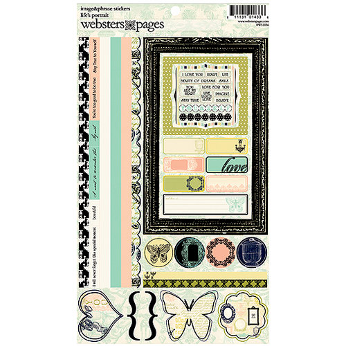 Websters Pages - Lifes Portrait Collection - Cardstock Stickers - Image and Phrase, CLEARANCE