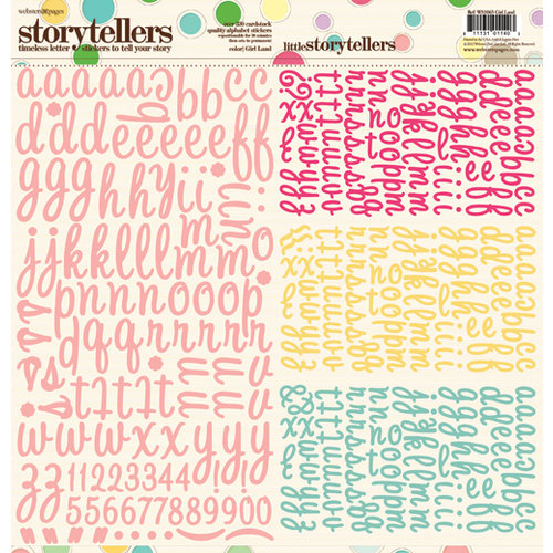 Websters Pages - Girl Land Collection - Storytellers - 12 x 12 Alphabet Cardstock Stickers