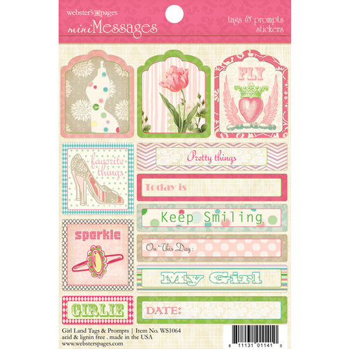 Websters Pages - Girl Land Collection - Cardstock Stickers - Mini Messages - Tags and Prompts