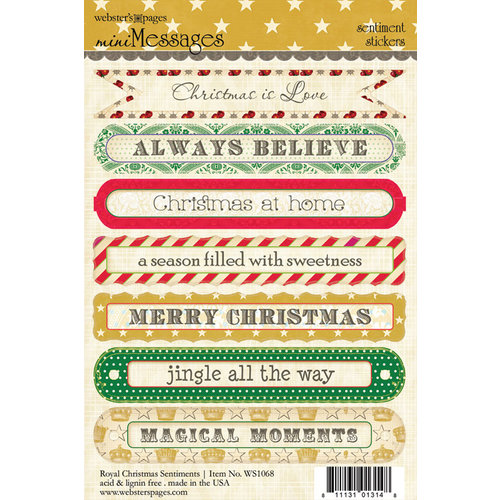 Websters Pages - Royal Christmas Collection - Cardstock Stickers - Mini Messages - Sentiments