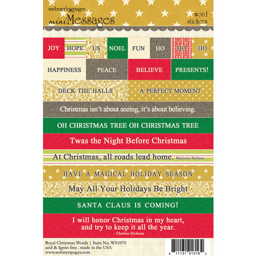 Websters Pages - Royal Christmas Collection - Cardstock Stickers - Mini Messages - Words