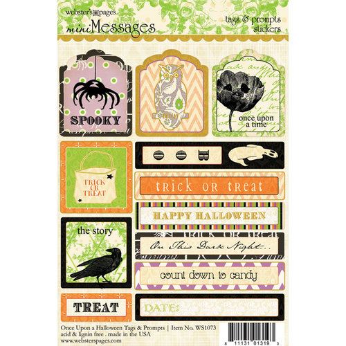 Websters Pages - Once Upon a Halloween Collection - Cardstock Stickers - Mini Messages - Tags and Prompts