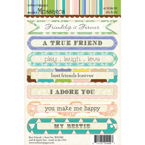 Websters Pages - Best Friends Collection - Cardstock Stickers - Mini Messages - Sentiments