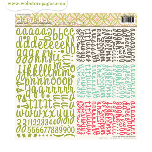 Websters Pages - Modern Romance Collection - Storytellers and Little Storytellers - 12 x 12 Alphabet Cardstock Stickers
