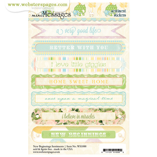 Websters Pages - New Beginnings Collection - Cardstock Stickers - Mini Messages - Sentiments