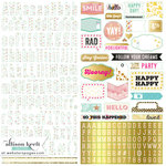Websters Pages - Happy Collection - 12 x 12 Cardstock Stickers - Alphabet and Shape
